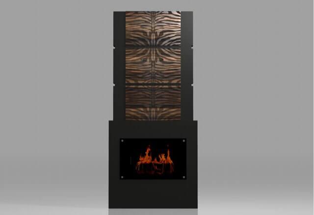 zebra panels, custom fireplace design